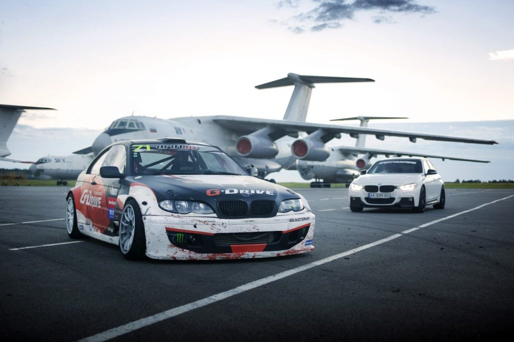 BMW 3 stock and drift next to IL-76 Planes in Belarus Mogiliov Airport Giedrius Matulaitis matulaitis.lt